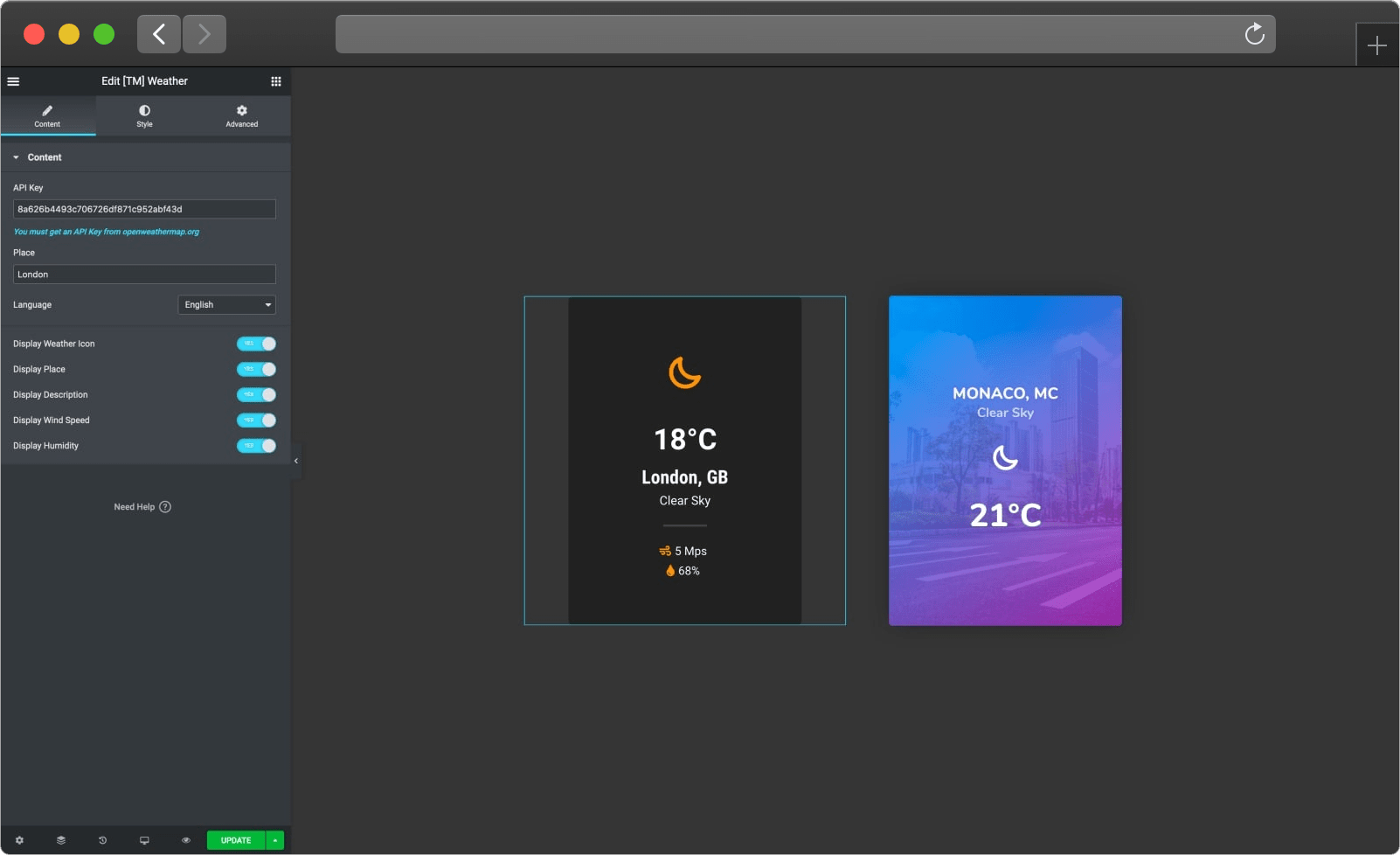 elementor weather widget